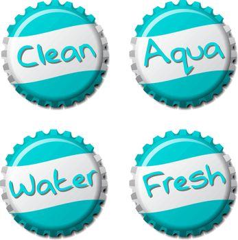 Set of fresh bottle caps isolated on white background, vector illustration