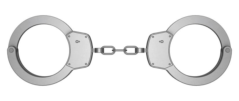 3D digital render of handcuffs isolated on white background
