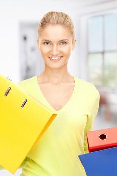 businesswoman with folders
