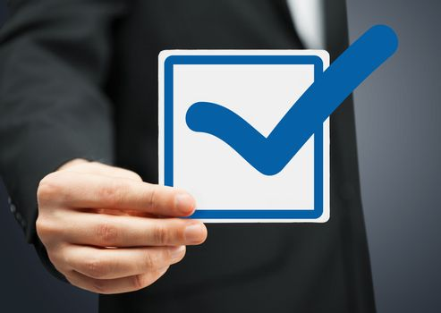 closeup of checkbox and blue mark in it