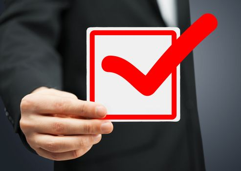 closeup of checkbox and red mark in it