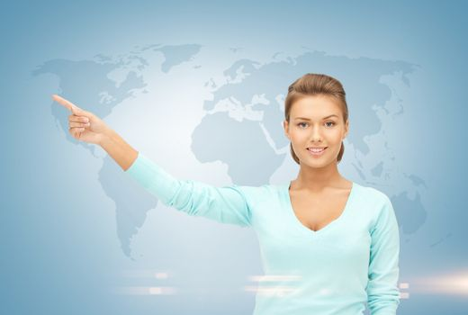 businesswoman and world map