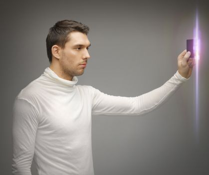man with access card