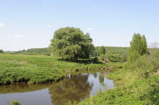 Koloksha river in spring time, Middle Russia