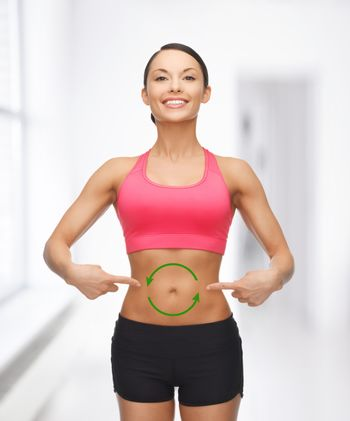 woman with arrows on her stomach