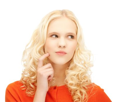 girl thinking with finger on her cheek