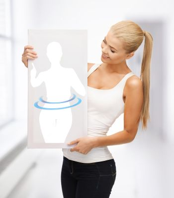 woman holding picture of dieting woman