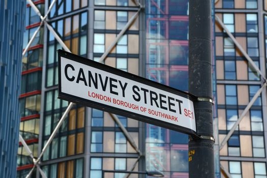 Canvey Street road sign in Southwark, London