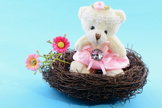 Nest with a Teddy Bear on a blue background