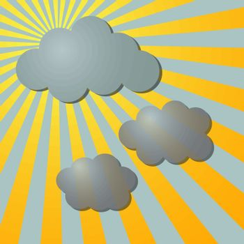 Clouds and sun radial rays, vector illustration