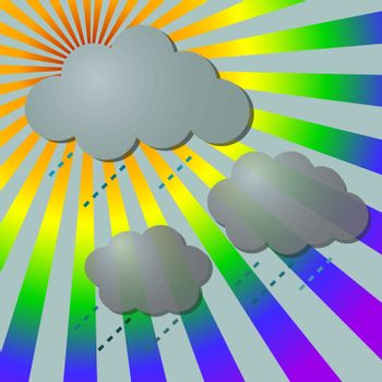 Rainy in rainbow rays with clouds, vector illustration