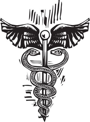 Woodcut image of the Caduceus the snake entwined staff carried by Hermes in Greek mythology and is the symbol of merchants, shepherds, gamblers, liars, and thieves and used as a medical symbol.