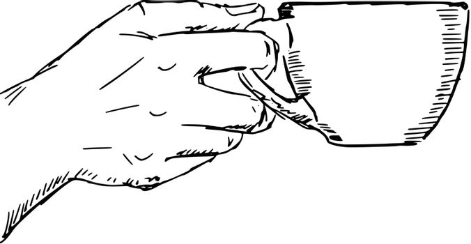 hand drawn, sketch, cartoon illustration of hand with cup