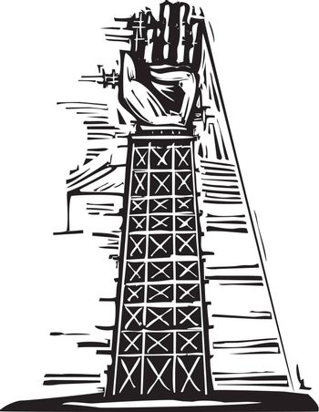 Woodcut image of a tower where a giant arm and hand are being constructed.