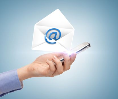 business, communication and future technology - woman holding smartphone with email icon