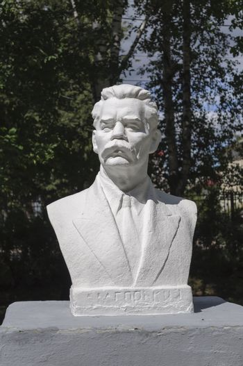Monument to Russian writer Maxim Gorky in park of Tutaev, Russia