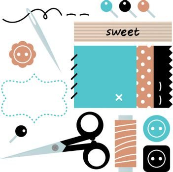 Sewing set with scissors, buttons, and pins in retro style. Vector