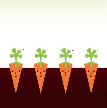 Sweet Carrots growing in dark soil. Vector Illustration