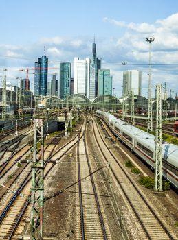 Hauptbahnhof in Frankfurt with skyline