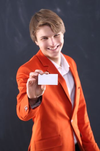 Portrait of energetic man with a white showcase