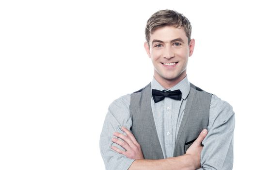 Young smiling man with bowtie
