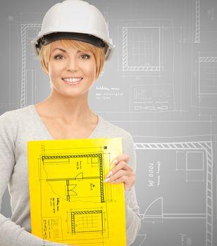 female contractor in helmet