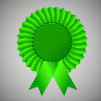 Green award ribbon rosette on gray background, vector illustration