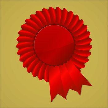 Red award ribbon rosette on gold background, vector illustration