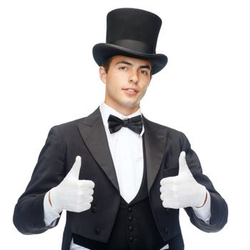 magician in top hat showing thumbs up