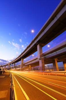 Freeway with traffic trail