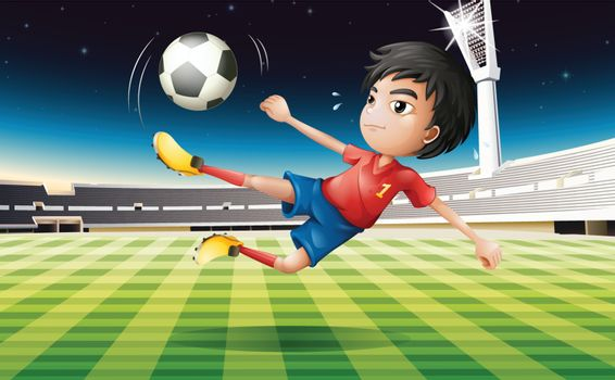 Illustration of a young football player with a red uniform