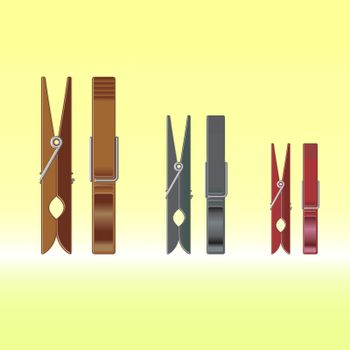 Metal colour clothes pin set on gradient background, vector illustration