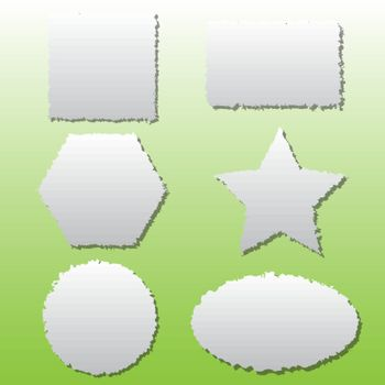 Collection of different shape paper tears, vector illustration