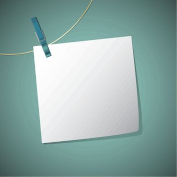 Note paper hang on string with clothes pin, vector illustration