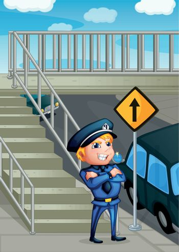 A wise face of a policeman
