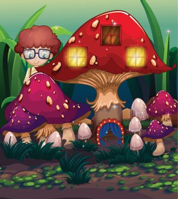 A boy at the back of the mushroom house