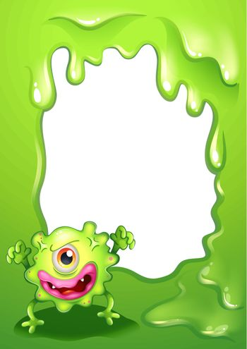 A one-eyed green monster in front of an empty template