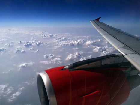 Cloudscape in clouds airplane window view