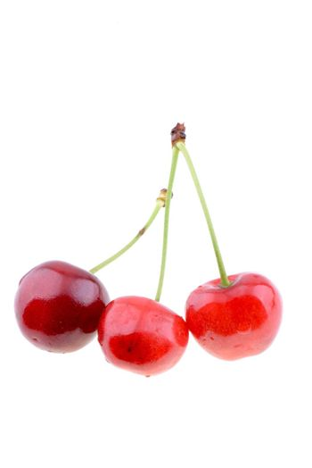 Sweet red cherries isolated on a white background