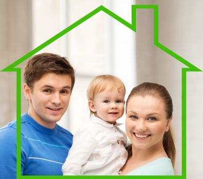home, happiness and real estate concept - happy smiling family with adorable baby