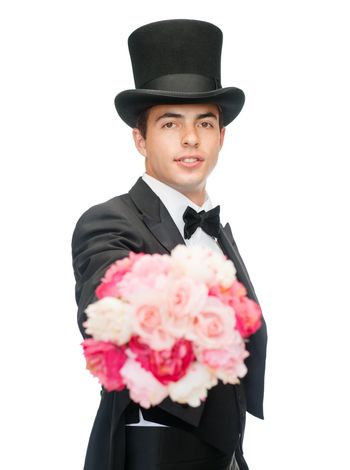 magician with flower bouquet