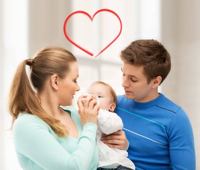 happy family and adorable baby with feeding-bottle
