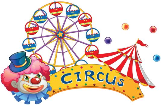 A signage at the circus with a clown
