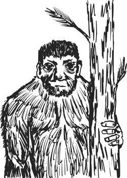 hand drawn, sketch, cartoon illustration of bigfoot