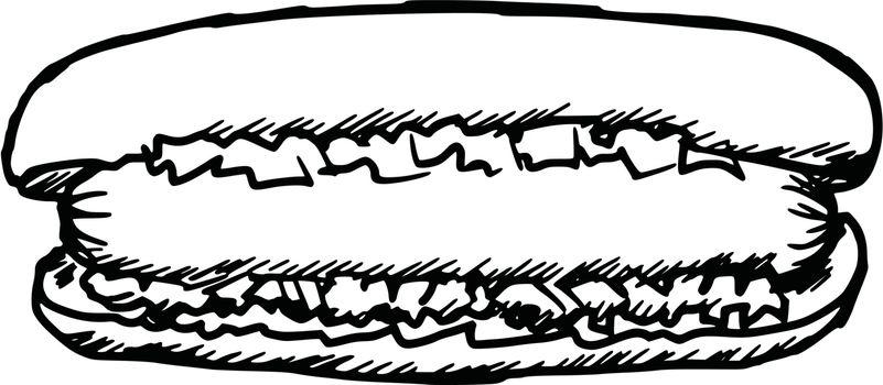 hand drawn, sketch, cartoon illustration of hot dog