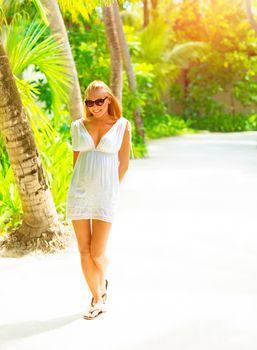 Pretty woman on tropical island