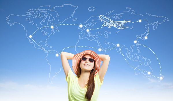 sunny woman backpacker thinking her travel worldwide plan