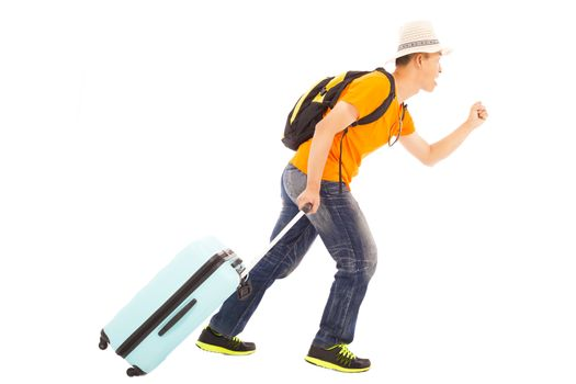 young backpacker running happily to travel worldwide