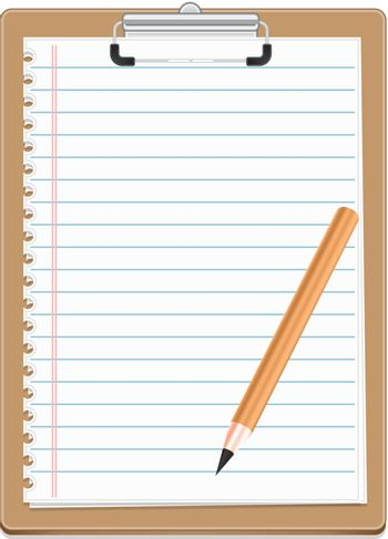 Clipboard with blank paper and pensil, vector illustration