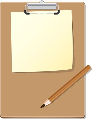 Clipboard with green read paper and pensil, vector illustration